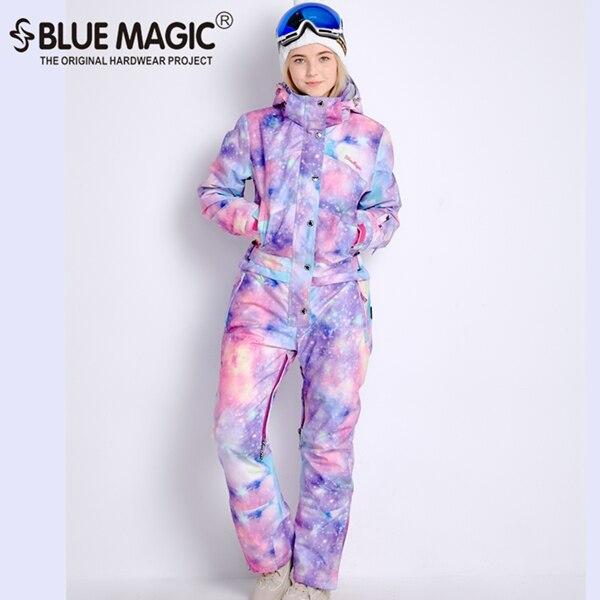 Синий волшебный водонепроницаемый Сноубординг цельный лыжный комбинезон женский сноуборд-30 градусов лыжный костюм зимняя одежда комбинезон - Цвет: NEW PPL GLX