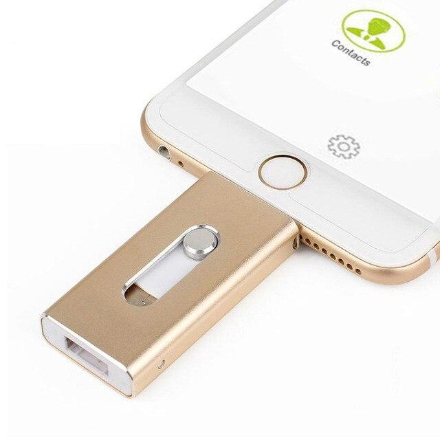 OTG Usb Flash Drive 128GB 64GB 32GB 16GB 8GB Pen Drive External Storage Memory Stick For Iphone 7 7 Plus 6 6s Plus 5S Ipad