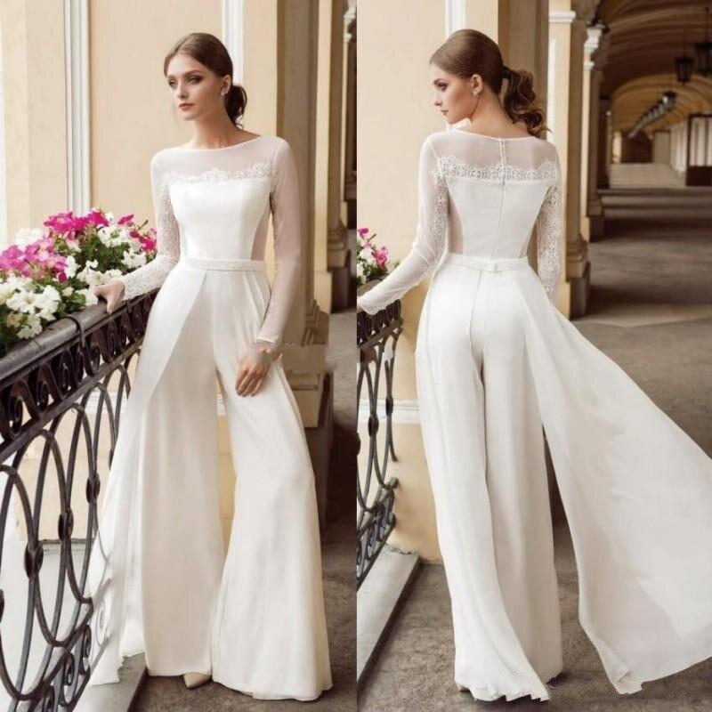 New Designer Bohemian Jumpsuit Lace Wedding Dresses Bateau Neck Long Sleeves Beach Bridal Gowns Floor Length Vestido De Noiva