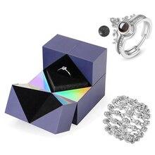 Подарок на день Святого Валентина, кольца с надписью «Я люблю тебя» на 100 языках, в шкатулке для украшений, креативный браслет-кольцо и короб...