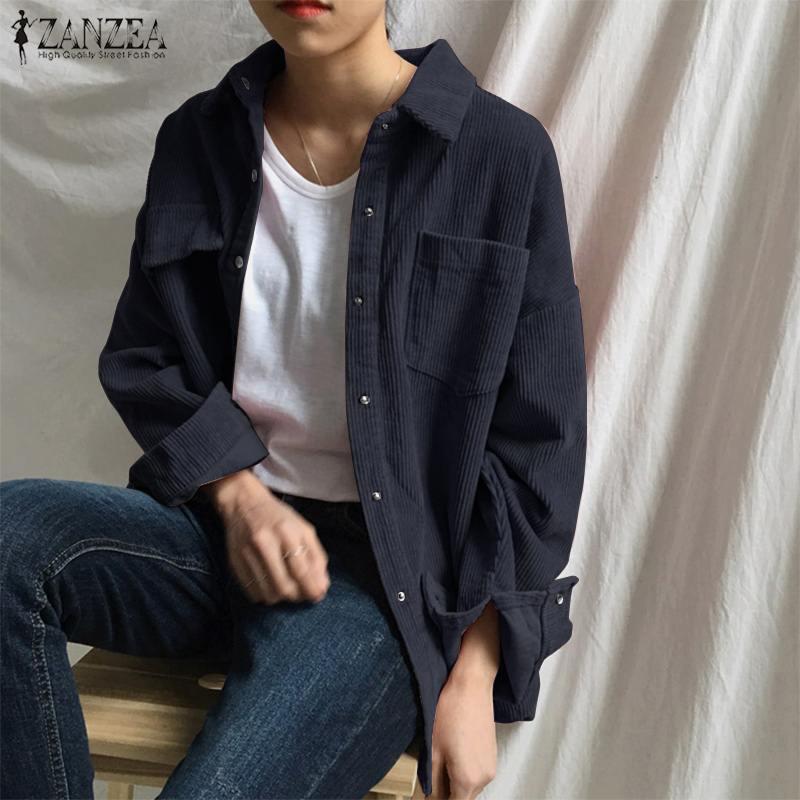ZANZEA Women's Corduroy Shirts Cardigans Spring Kaftan Casual Blouse Long Sleeve Blusas Female Button Down Tunic Plus Size Tops