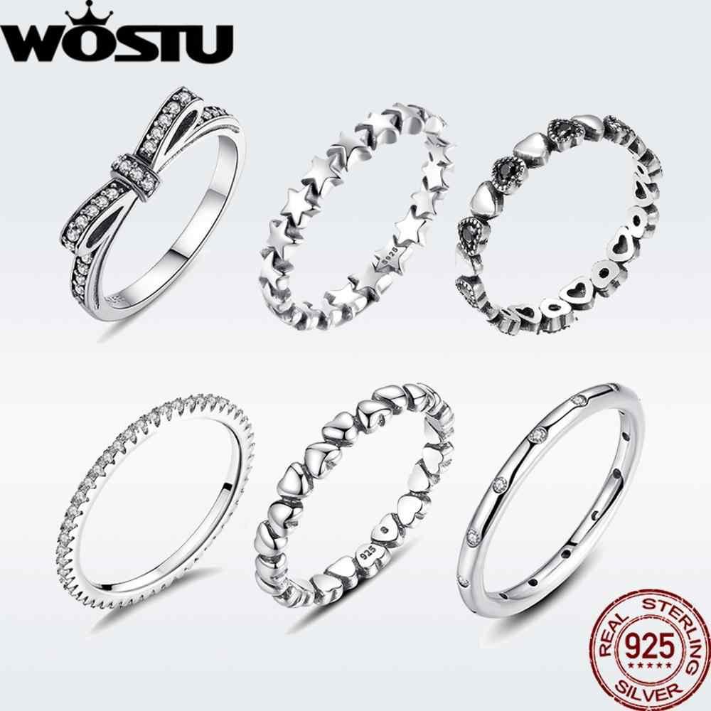 WOSTU ขายร้อน 925 เงินสเตอร์ลิงแหวนเงินผู้หญิงยุโรป Original งานแต่งงานแฟชั่นเครื่องประดับแหวนของขวัญ
