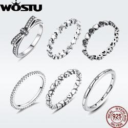Wostu venda quente 925 anéis de prata esterlina para as mulheres europeu original marca de moda casamento anel jóias presente