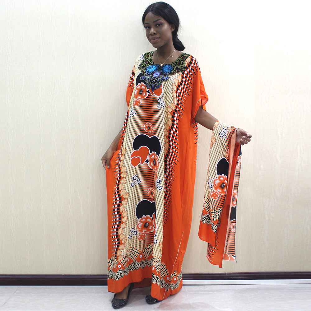 2019 African Dashiki Fashion Design Appliques Orange 100% Cotton Dresses For Women
