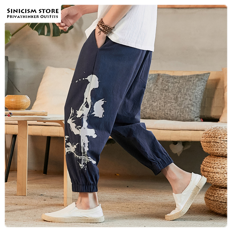 Sinicism Store Men Chinese Style Print 2019 Autumn Ankle-Length Pants Mens Cotton And Linen Pants Male Loose Trousers Oversize