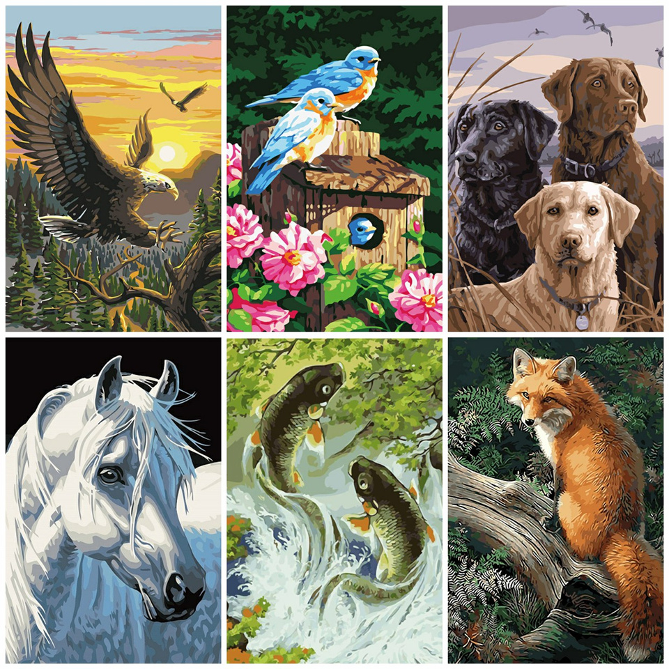 AZQSD Painting By Numbers Animals Kits Abstract Number DIY Oil Painting Fantastic Drawing Pictures On Canvas Room Decor