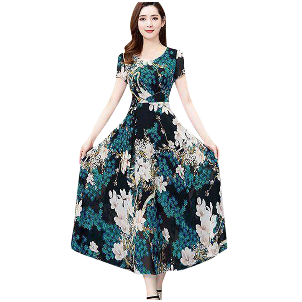 платье 2021   Fashion Summer Casual Floral Dress Women O-neck Short Sleeve Long Printed Slim A-line Dress Ladies Dresses