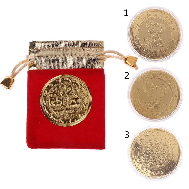 2020 New Year Rat Commemorative Coin Chinese Zodiac Souvenir Golden Mouse Coins