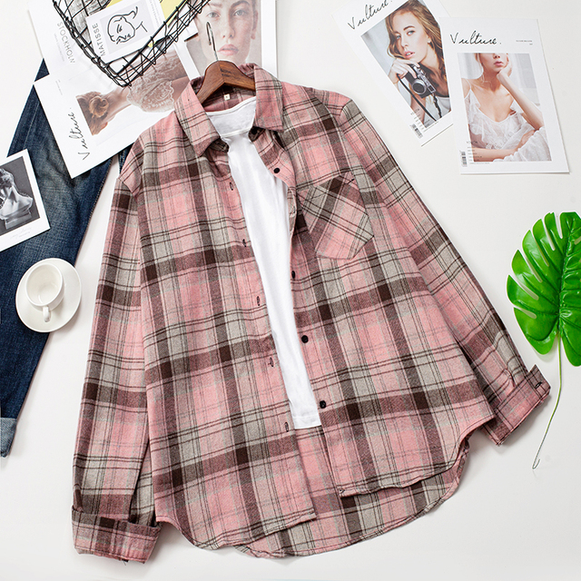 2020 Plaid Shirts Women Top And Blouses Long Sleeve Oversized Cotton Ladies Casual Blusas One Pocket Loose Female Checked Shirt 2