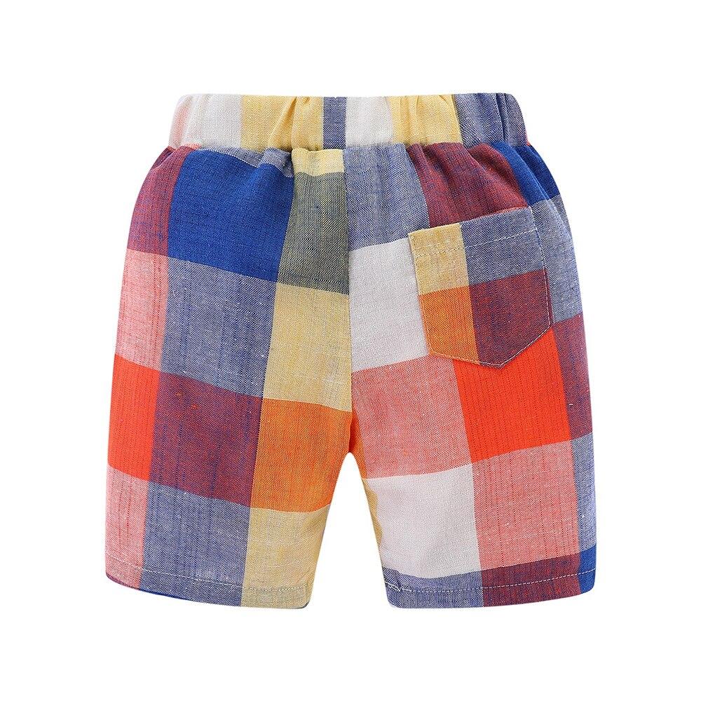 Mudkingdom Boys Summer Shorts Rainbow Color Classic Plaid Elastic Waist Casual Cotton Shorts 4