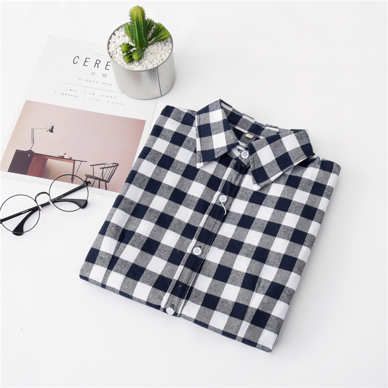 2020 New Women Blouses Brand New Excellent Quality Cotton 32style Plaid Shirt Women Casual Long Sleeve Shirt Tops Lady Clothes 8