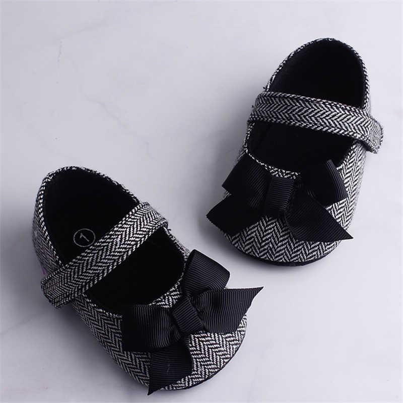 Emmababy zapatos de bebé para niña Bowknot antideslizante gancho de suela suave primeros caminantes niño bebé niña Zapatos para niños 0-18M 3 Color