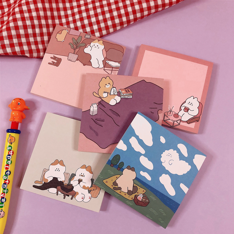 50Sheets Korean INS Cartoon Cat Memo Pad N Times Sticky Notes Portable Notepad School Office Supply Stationery