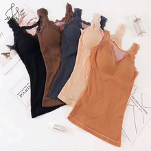 Maidy New Autumn Winter Fashion Warm Women Cotton Tops Lace Based Sleeveless Female Thick Velvet Vests Tanks Tees Bottoms