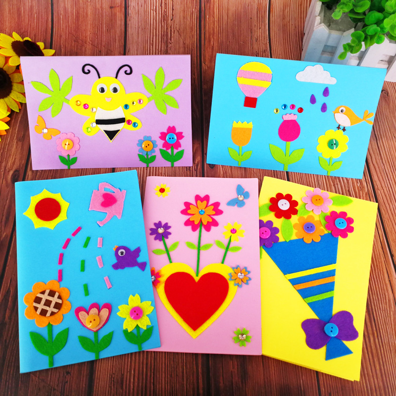 Non Woven Congratulation Card Children Educational Toy DIY Flower Greeting Card Birthday Invitation Greeting Card with Envelope