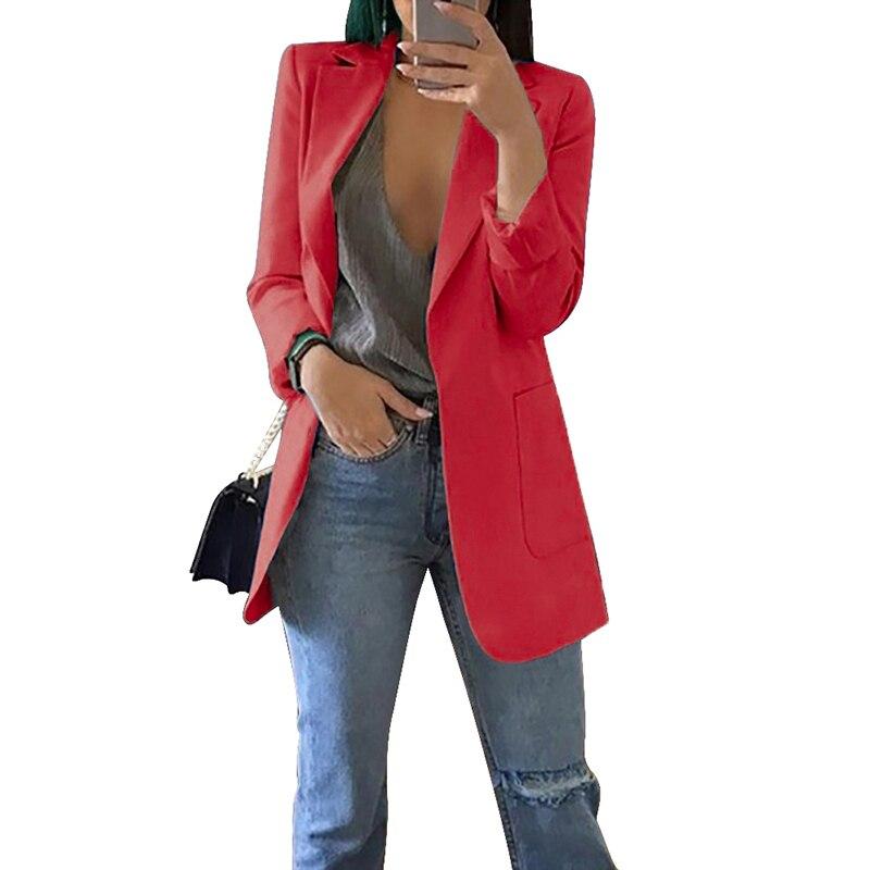 LOOZYKIT Autumn Women Blazer Fashion Solid Long Sleeve Cardigan Jacket Suit Vintage Turn-down Collar Outwear Ladies Blazer Top
