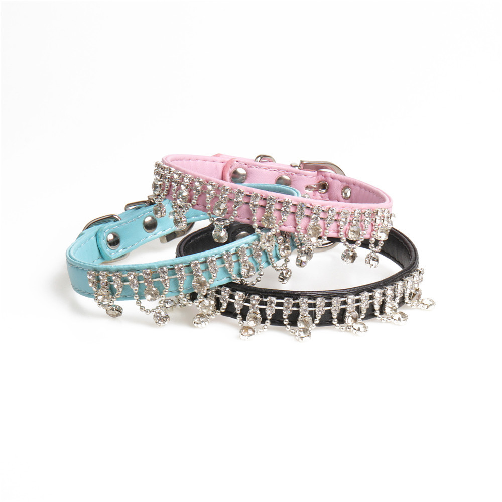 Jin Jie Te New Products Rapid Delivery Pet Collar Pu Man-made Diamond Dog Neck Ring