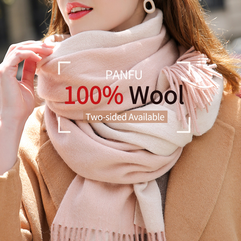 Reversible 100% Real Wool Scarf Women Warm Shawls And Wraps Ladies Solid Warps Echarpe 305g Winter Pink Wool Scarves Cashmere