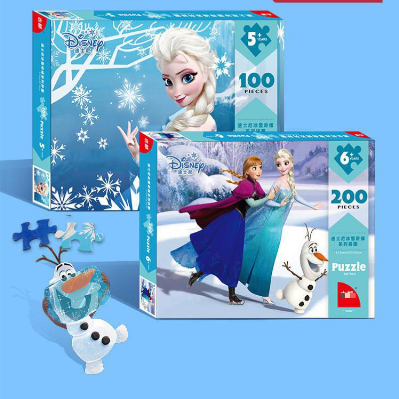 Original Disney Princess Frozen Elsa Anna Sofia Puzzles 200 Pieces 100pcs Toys For Girls New Year Birthday Gifts For Children