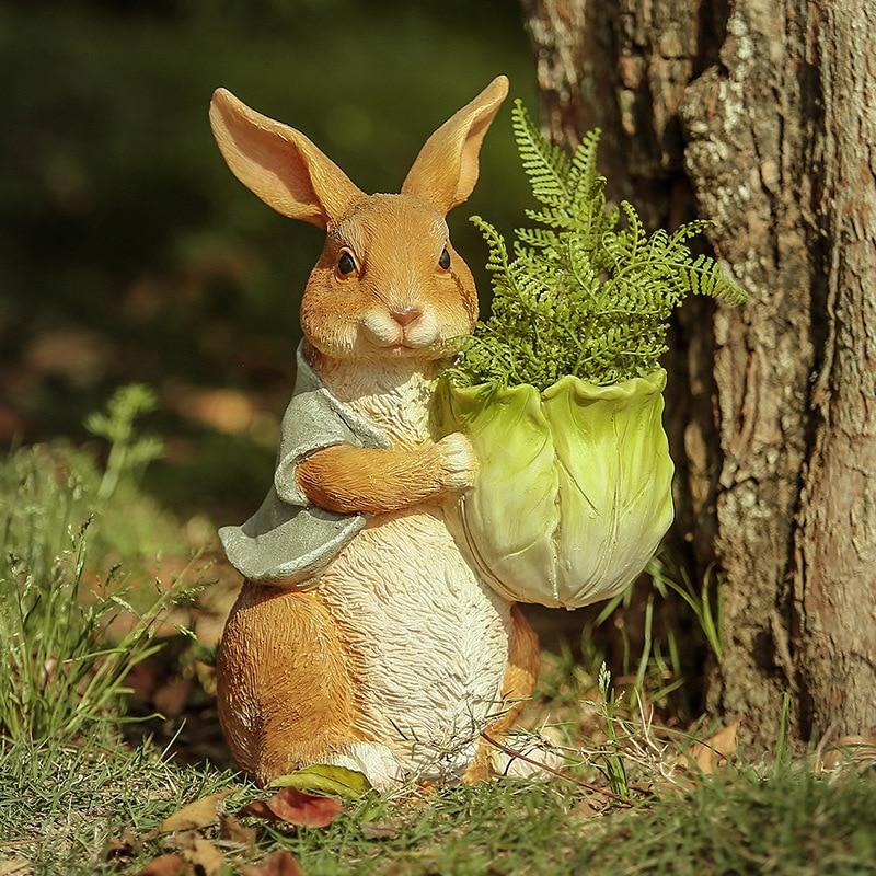 イースターの装飾かわいいウサギ樹脂の庭の装飾バルコニー中庭公園屋外妖精オーナメント動物園アートギフト