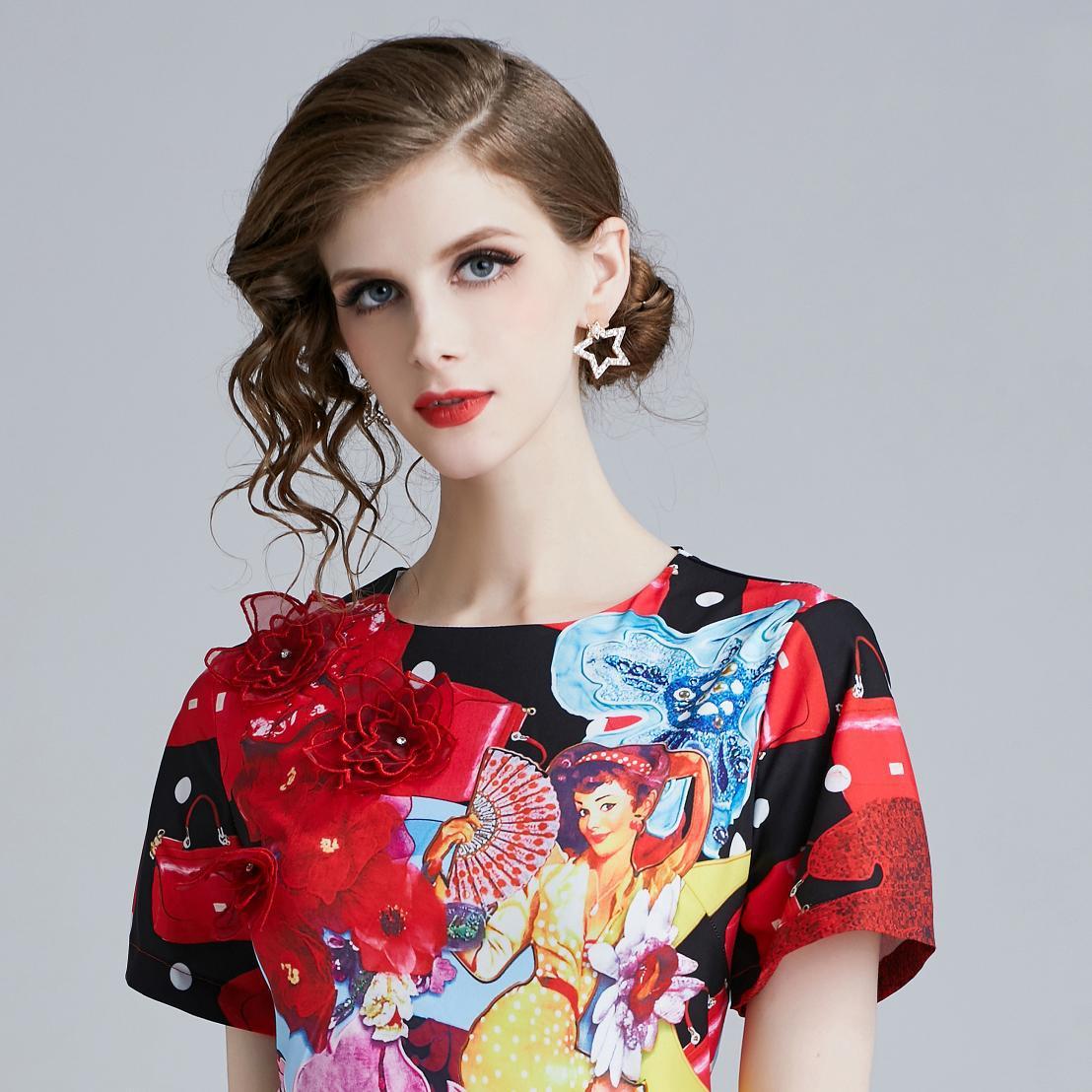 Photo Shoot 5795-Catwalk Models WOMEN'S Dress-Style Elegant Slim Fit Short Sleeve Beauty Floral Printed Dress