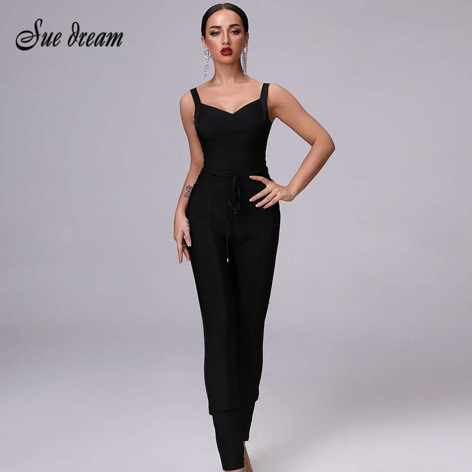Rayon Bandage Jumpsuit 2019 New Bodycon  Autumn Workwear Sexy Tight  Black Red Dark Blue Lace Sleeveless Christmas  Jumpsuit