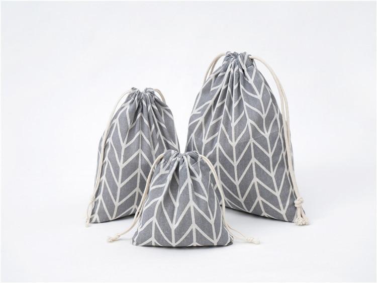 Women Canvas Drawstring Bags Arrows Cartoon Storage Cloth Bags Foldable Tea/Candy/Gift/Clothes Case Pouch 3Pcs/Set (S+M+L)