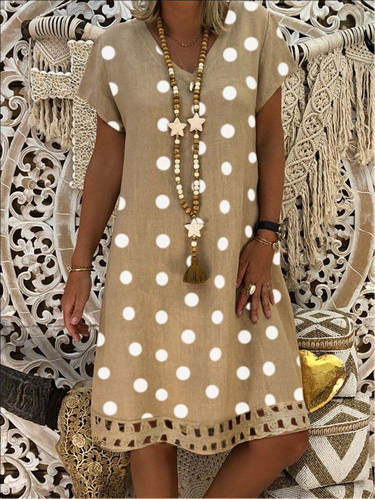 €10.22 30% СКИДКА|Платье в горошек с коротким рукавом и v образным вырезом, одежда в стиле бохо, сарафан, женское летнее повседневное Свободное платье, модная одежда больших размеров|Платья| |  - AliExpress