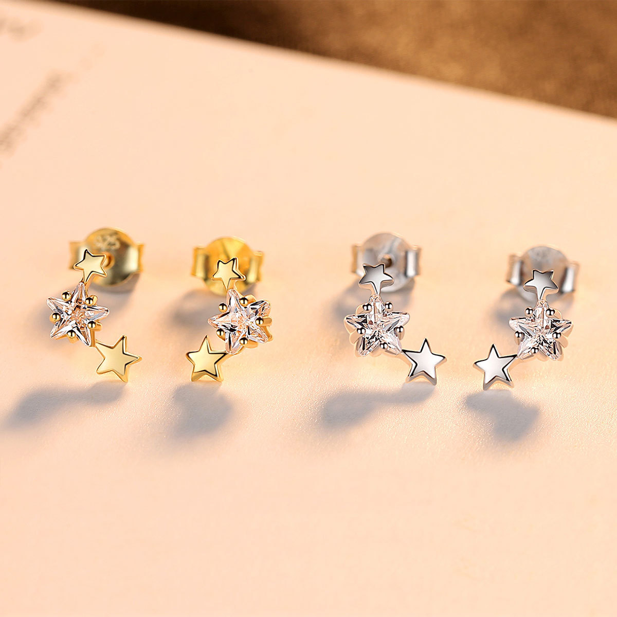 PAG & MAG nouveau 925 boucles d'oreilles en argent Sterling étoile Zircon boucles d'oreilles femme mode simple petit pentagramme femme bijoux - 3
