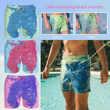 Color-changing Men Beach Shorts Quick Dry Swimwear Beach Pants Swimsuit Swim Trunks Summer Bathing Beach Wear Surf Boxer Brie(China)
