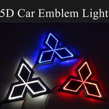 5D Car Logo LED Front Emblem Light Rear Trunk Decoration for Mitsubishi ASX Ralliart Outlander Lancer Pajero Eclipse Galant