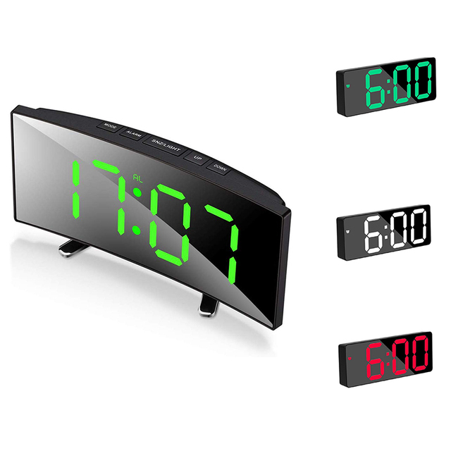 Table Alarm Clock For Room Curved Dimmable LED Sn Electronic Digital desktop Clock for Kids Bedroom Large Number Table Clock 2