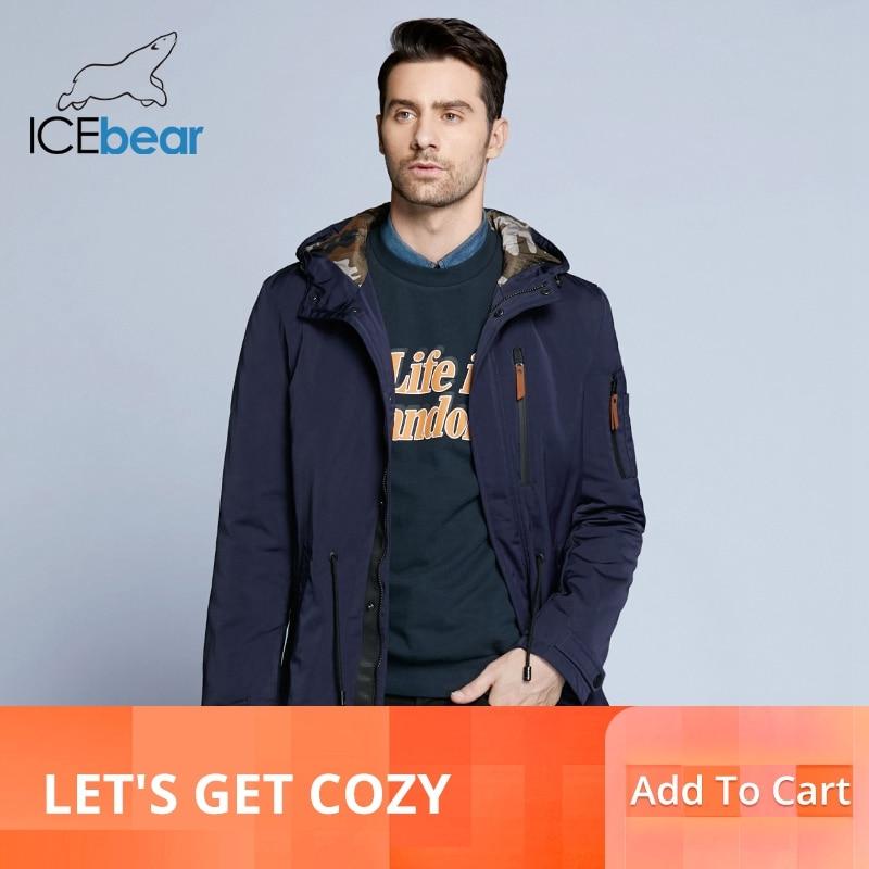 ICEbear 2019 خندق معطف للرجال قابل للتعديل الخصر قبعة للانفصال الخريف الرجال جديد عارضة متوسطة طويلة العلامة التجارية معاطف 17MC017D-في معطف مبطن من ملابس الرجال على  مجموعة 1