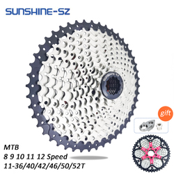 SUNSHINE Mountain Bike 8 9 10 11 12 Speed Cassette Velocidade Bicycle MTB Freewheel Sprocket 36T 40T 42T 46T 50T 52T for SHIMANO