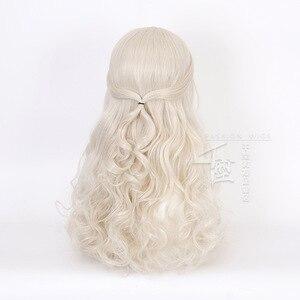 Image 4 - アリスでワンダーランド2白の女王コスかつらブロンド波状ロング人工毛耐熱性繊維ハロウィーンパーティー衣装かつら