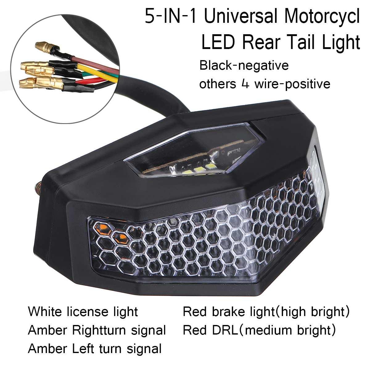 12V 5 In 1 Universal Motorcycle ATV LED Rear Tail Brake Stop Indicator Signal Lamp Turn Signal Light Retro License Plate Light