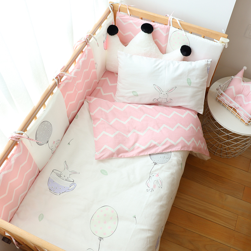 Baby Bedding Set For Newborns Woven Cotton Soft Kids Bed Linen Cartoon Crib Bedding Set With Bumper Cot Protector Custom Size