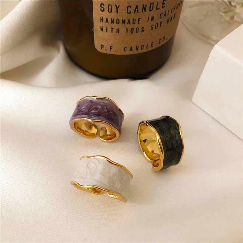 XIYANIKE 925 argent Sterling français Vintage incrusté or jante irrégulière lisse anneau de haute qualité à la main romantique mode Couple 3