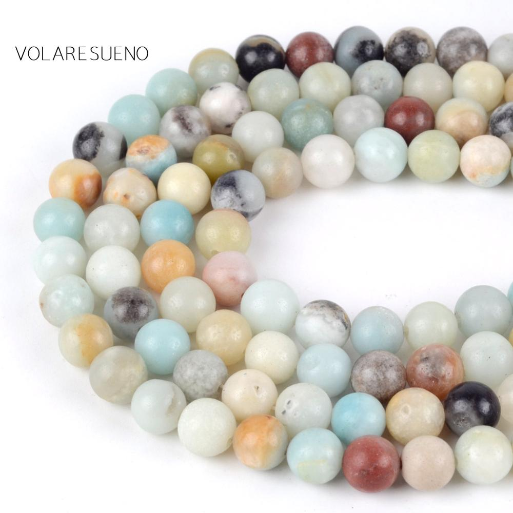 Natural Smooth Amazonite Stone Round Loose Beads For Jewelry Making 4 12mm Spacer Beads Fit Diy Bracelet Necklace Accessory 15' in Beads from Jewelry Accessories