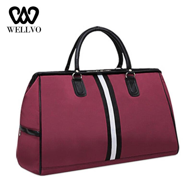 Waterproof Hand Striped Travel Bag Fashion Traveling Bags For Women Fitness Handbags Luggage Tote Big Sac Shoulder Bags XA829B