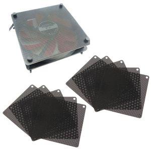 10 piezas 120MM ventilador de PVC Filtro de polvo PC a prueba de polvo funda de malla de ordenador cubierta negra