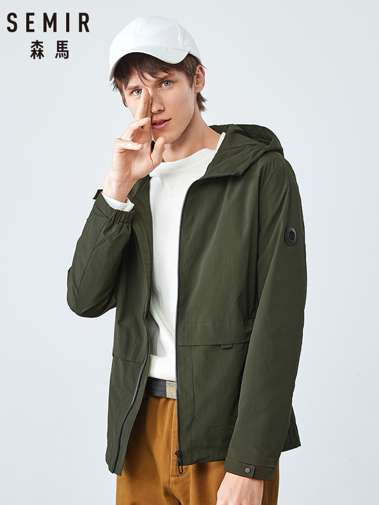Semir Men Jacket Trend Keep Warm Hooded Black Shirt Man Casual Handsome Ins Tide Brand Clothes Green Black Gray