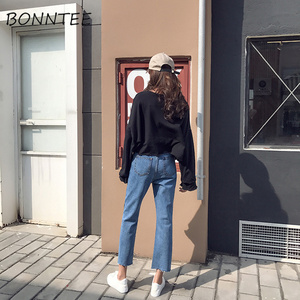 Image 3 - Jeans Women Striped Retro Loose Straight Daily Womens Ankle length All match Simple Pockets Student Patchwork High Waist Leisure