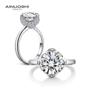 AINUOSHI 3,5 карат, круглая огранка кольцо обручальное кольцо с искусственным бриллиантом свадебное кольцо из стерлингового серебра цветок ювел...