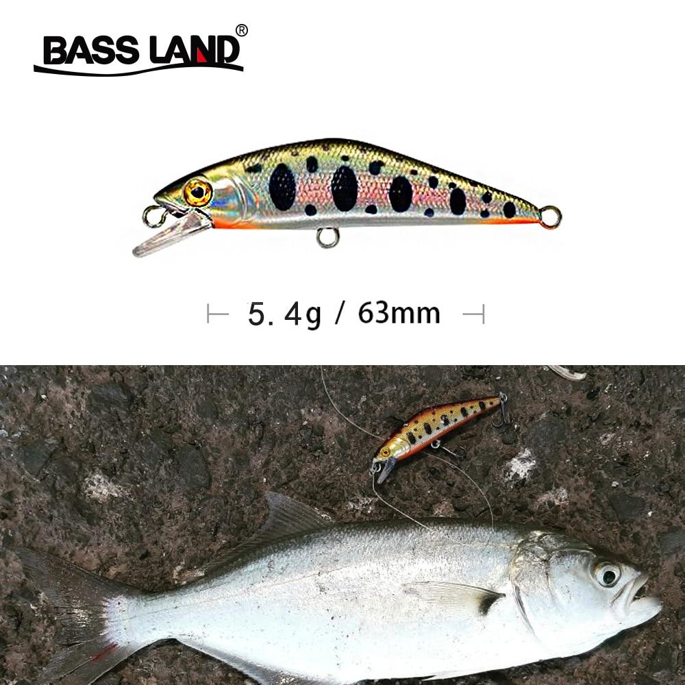 Bassland New Sinking Minnow 63mm 5.4g Spot Fishing Hard Lures Wobbler Artificial Bass Bait Fishing Tackle