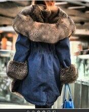 2021 Warm Fox Fur Lining Parker Long Winter Jacket Top Quality Winter Women