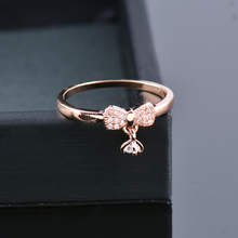 SINLEERY Lovely Cute Cubic Zirconia Pendant Mini Bow Midi Rings For Women Girl Rose Gold Color Jewelry Jz450 SSC cheap Copper Cute Romantic Bridal Sets Bowknot All Compatible None Tension Setting Engagement 100 Brand New Zhejiang China (Mainland)
