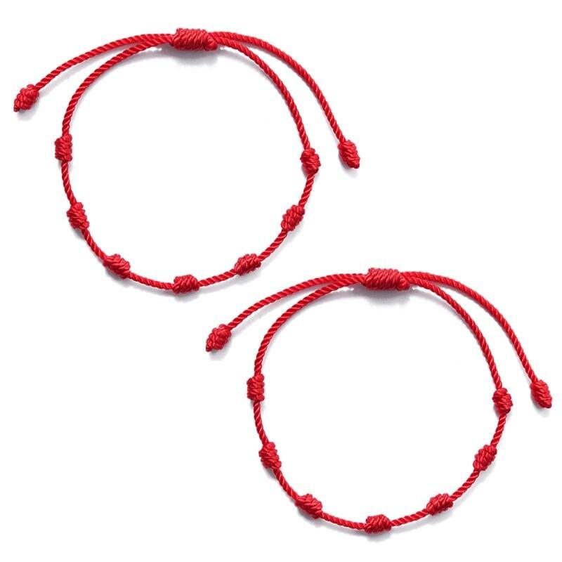 2 pçs 7 nós pulseira de corda vermelha para proteção olho mal boa sorte amuleto para o sucesso e prosperidade pulseira de amizade Pulseiras    -