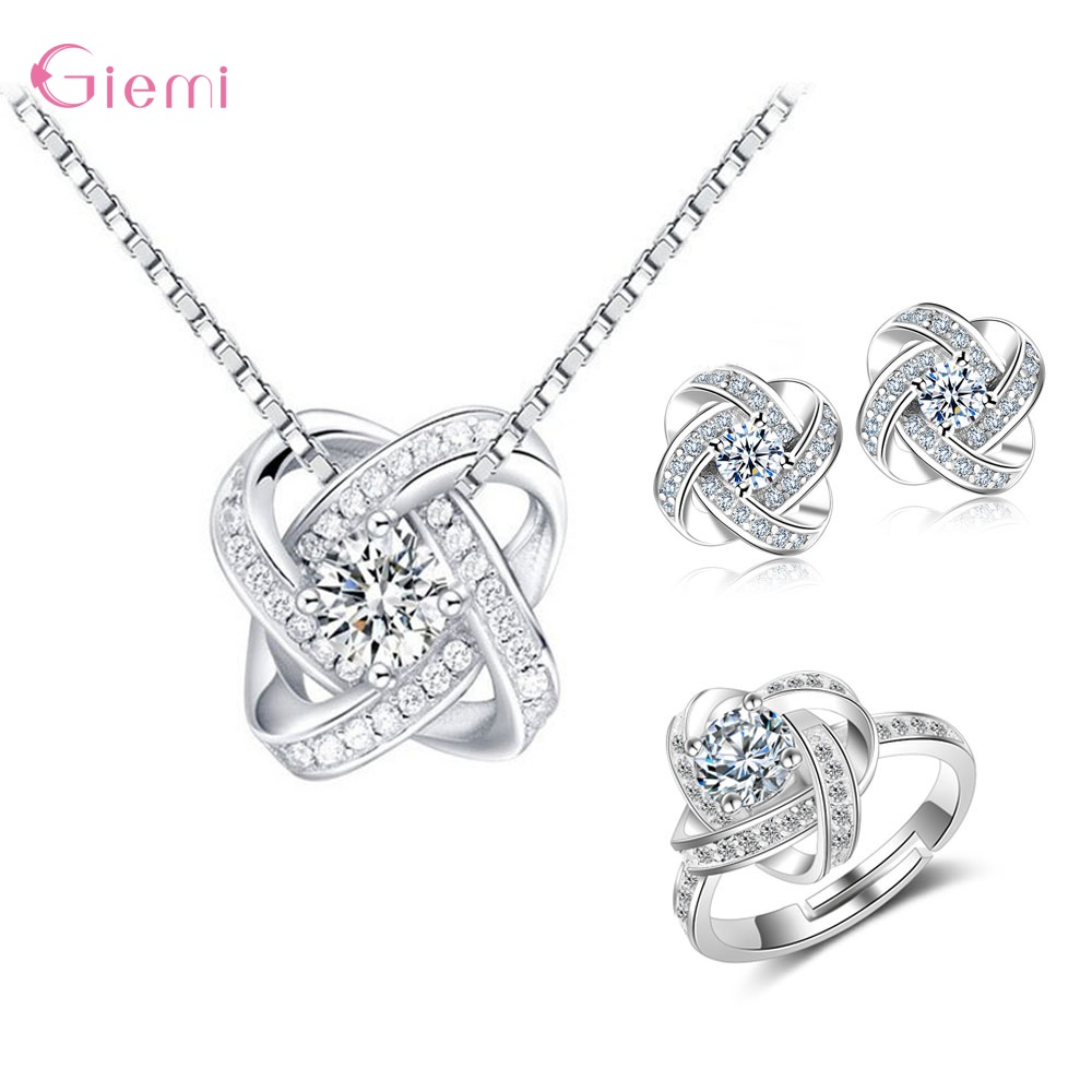 Trendy Jewelry Sets Fine 925 Sterling Silver Austria Crystal Bridal Jewelery Set Flower Pendant Necklace Earrings Ring parure