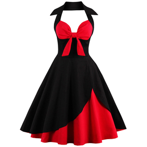Винтажное платье рокабилли, 1950 60-х годов, летнее платье, 2019, сексуальное, с бретельками, для женщин, халат размера плюс, ретро, платья для вече...